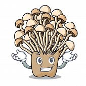 Grinning enoki mushroom character cartoon vector illustration poster