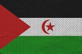 Western Sahara flag printed on a polyester nylon sportswear mesh fabric with some folds poster