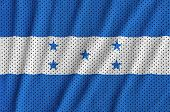 Honduras flag printed on a polyester nylon sportswear mesh fabric with some folds poster