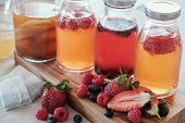 Kombucha second Fermented fruit tea, Probiotic food poster