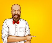 Vector pop art excited bald man with beard in white shirt points with finger at sales, discounts. Shocked, surprised character isolated on yellow background. Sale, ad poster, banner. poster