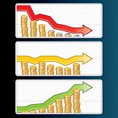 Financial Bar Graphs with Falling, Rising and Straight Arrows, set of vector illustrations poster