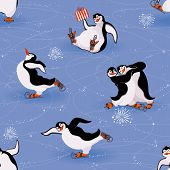 Vector seamless pattern with funny penguins skating poster