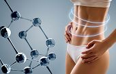 Woman with perfect body near big molecule chain. Slimming concept. Improvement of metabolism concept. poster