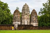 Wat Si Sawai (Sri Savaya) in Sukhothai A big Khmer style temple in Sukhothai. of big temples in Sukhothai Historical Park  Sukhothai THAILAND. poster