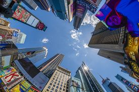 New York, Usa - May 24, 2018: View Of Billboards And Buildings At Times Square In New York. It Is A