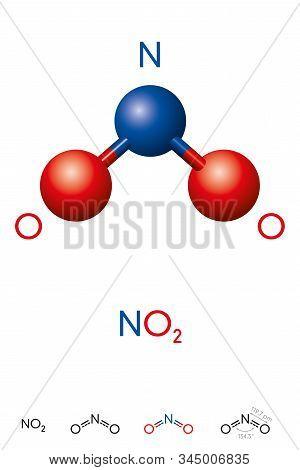 Nitrogen Dioxide, No2, Molecule Model And Chemical Formula. Nitrogen(iv) Oxide Or  Deutoxide Of Nitr