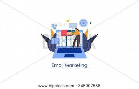Digital Marketing Email Marketing, Influencer Online Advertising Vector Illustration
