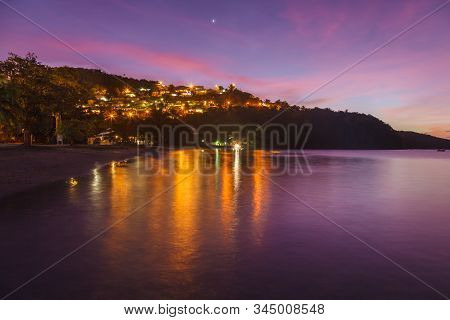 Landscape View Of Anse A L'ane Beach And Calm Bay At Colorful Dusk With Peaceful Caribbean Sea, Mart