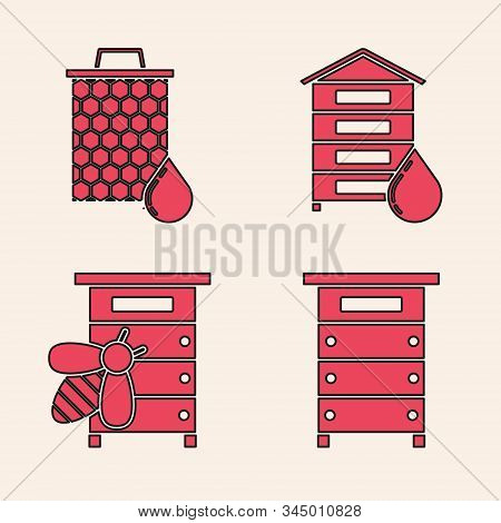 Set Hive For Bees, Honeycomb, Hive For Bees And Hive For Bees Icon. Vector
