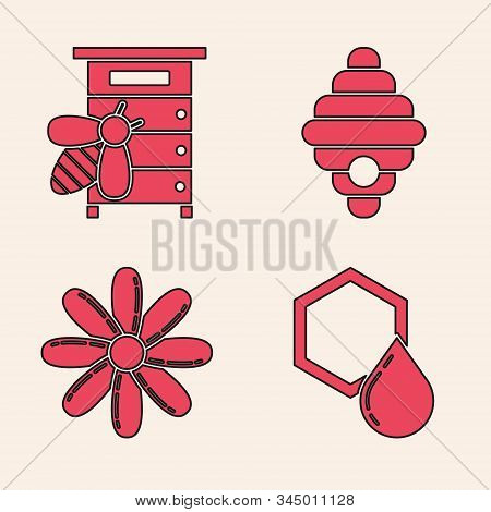 Set Honeycomb, Hive For Bees, Hive For Bees And Flower Icon. Vector