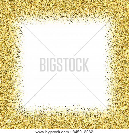 Realistic Golden Confetti Square Frame Isolated On White Background. Shiny Festive Serpentine Bright