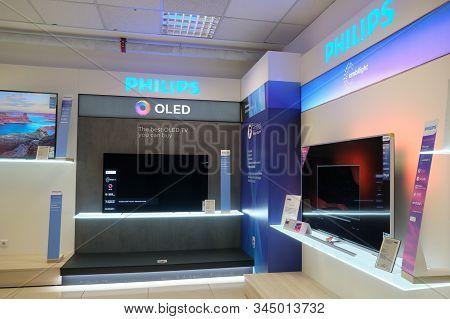 Bucharest, Romania - December 22, 2019: Philips Oled Tvs On Display In Emag Showroom, Bucharest, Rom