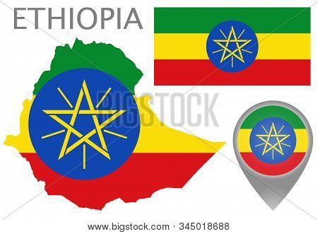Colorful Flag, Map Pointer And Map Of Ethiopia In The Colors Of The Ethiopian Flag. High Detail. Vec
