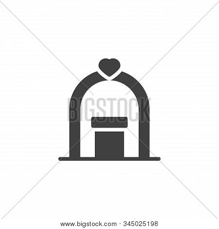 Wedding Arch With Podium Vector Icon. Filled Flat Sign For Mobile Concept And Web Design. Wedding Ce