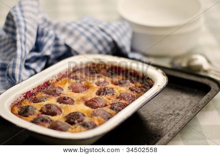 baked red cherry clafoutis