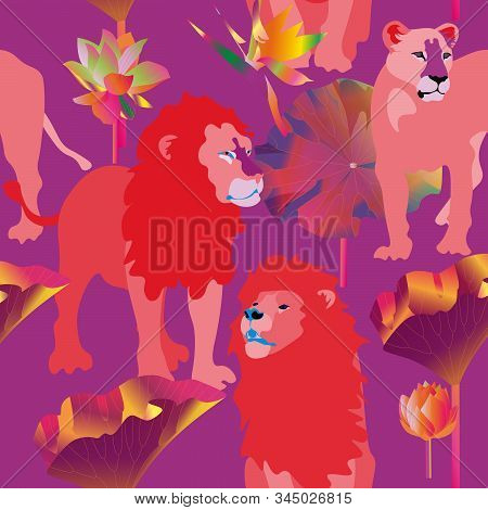 Red Lions And Lioness On Pink Background Seamless Vector Illustration. Picture With Exotic African A