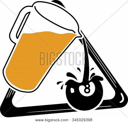 Pool Team Logo | Billiards Shirt Design | Team Logo | Beer Pitcher Pouring Into An Eight Ball | Fun