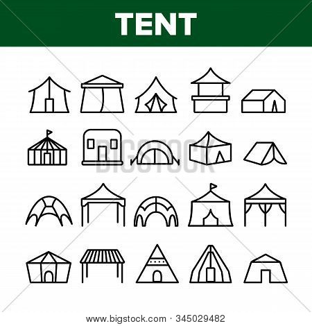 Tent Travel And Circus Collection Icons Set Vector Thin Line. Touristic Camp Tent And Festival Carni