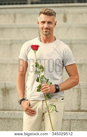 Surprise For His Love. Life Is Too Short To Live Without Love. Handsome Guy With Rose Flower Romanti