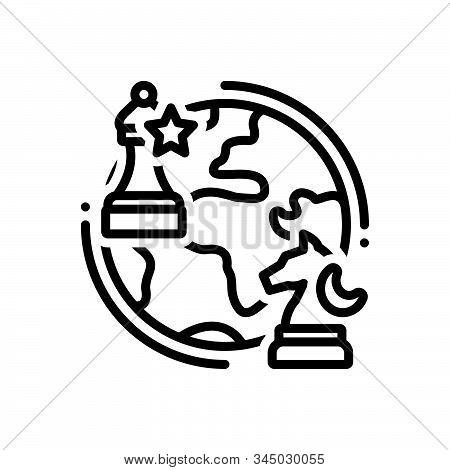 Black Line Icon For Geopolitics Chess Globe Business Checkmate Geopolitical Politics
