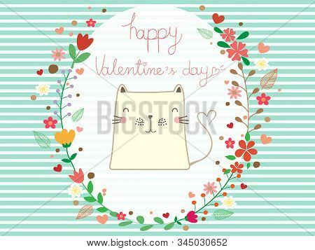 Beautiful Valentines Day Card On Blue And White Stripe Background. Valentine Colorful Flower Wreath