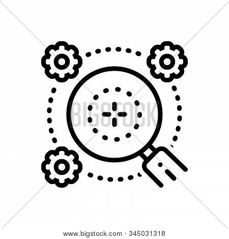 Black Line Icon For Generalities Generalization Extrapolation Magnifying-glass