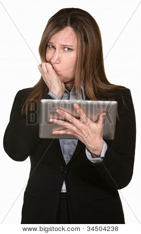 Confused Businesswoman Holds A Tablet