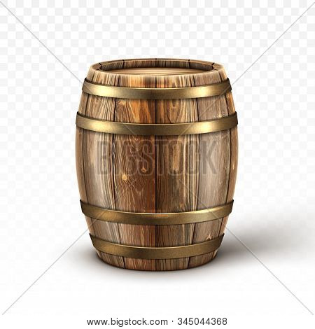 Wooden Barrel For Wine Or Beer. Cask From Oak Wood With Copper Or Iron Rings. Vector Realistic Keg F