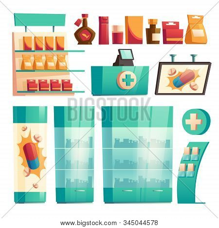 Pharmacy, Drugstore Shelves With Medicines, Showcase With Pills. Vector Cartoon Set Of Isolated Inte