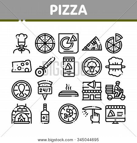 Pizza Delicious Food Collection Icons Set Vector Thin Line. Pizza With Seafood And Vegetable, With C