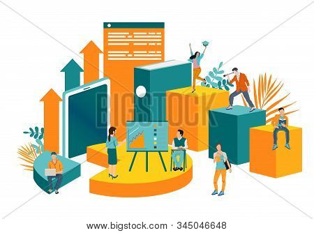 Illustration Of A Business, Office Workers Study Infographics On A Graph Of Columns, Analyze The Evo
