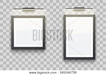 Set Of Picture Frame With Led Light. Gallery Interior Element Mockup. Black Frame With Spotlight For