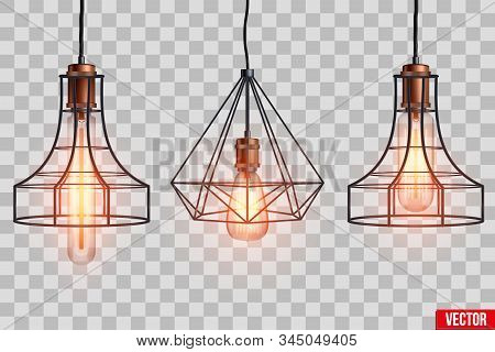 Decorative Edison Light Bulb In Retro Design Copper Wire Lampshade. Original Vintage Design. Switch