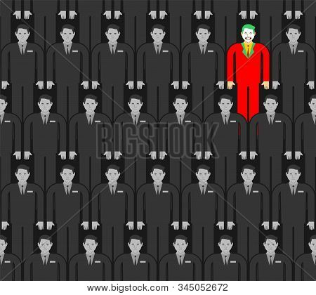Individuality In Gray Crowd Pattern Seamless. Man In Bright Suit In Group People Background. Contras