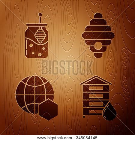 Set Hive For Bees, Jar Of Honey And Honey Dipper Stick, Honeycomb Map Of The World And Hive For Bees