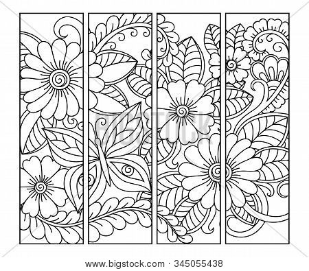 Bookmark For Book - Coloring. Set Of Black And White Labels With Floral Doodle Patterns, Hand Draw I