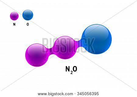 Chemistry Model Molecule Nitrogen Oxide N2o Scientific Element Formula. Integrated Particles Natural