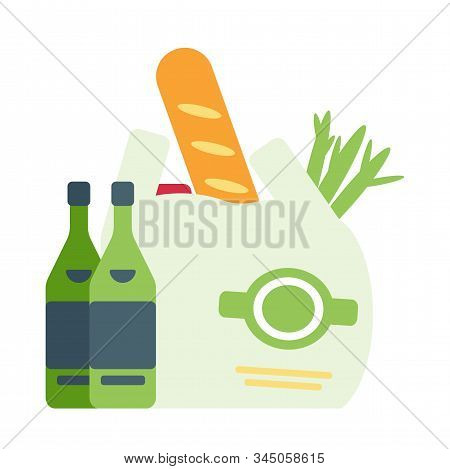 Shopping Bag And Bottles Flat Vector Illustration. Grocery Package With Vegetables, Wine And Baguett