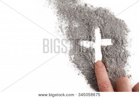 Cross Made Of Ashes, Ash Wednesday, Lent Season Abstract Background
