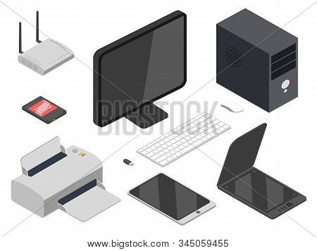 Computer Devices Realistic Illustrations Set. 3d Printer, Tower Case, Wifi Router Isolated On White