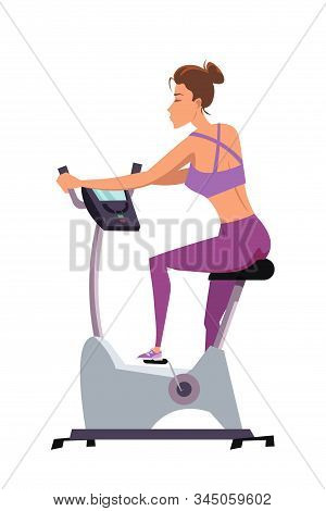 Girl On Stationary Bike Flat Vector Illustration. Young Woman In Sportswear Cartoon Character. Slim