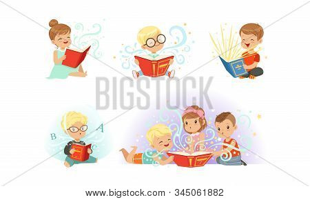 Adorable Little Boys And Girls Reading Fairy Tale Books Collection, Kids Fabulous Imagination Vector