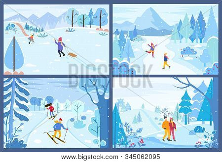 Winter Activities Of Characters Spending Weekends Outdoors. Man And Woman Competing In Ski Race. Cou