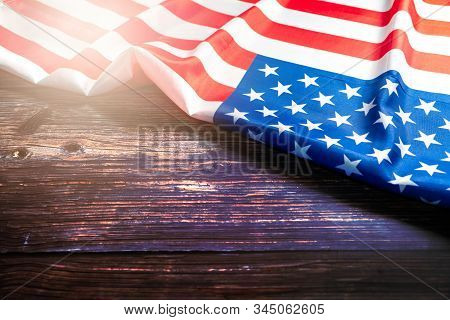 American Flag On Wooden Background For Martin Luther King Day And Presidents Day Anniversary