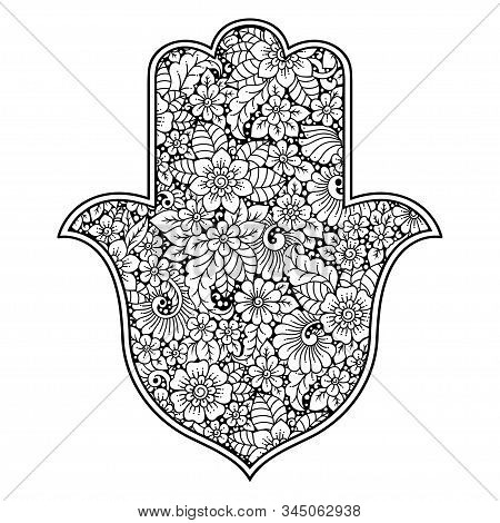Hamsa Hand Drawn Symbol With Flower. Decorative Pattern In Oriental Style For Interior Decoration An