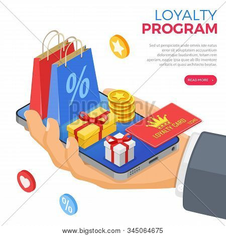 Customer Loyalty Programs As Part Of Customer Return Marketing. Gift Box, Returns, Interest, Points,