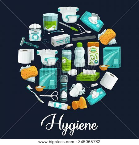 Circle Of Hygiene Products. Vector Icons Of Soap, Shampoo, Toothbrush And Toothpaste, Sponge, Washin