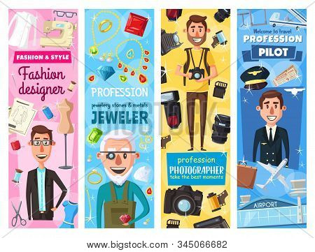 Jeweler Goldsmith And Fashion Designer Tailor, Photographer And Pilot Profession People. Vector Jewe