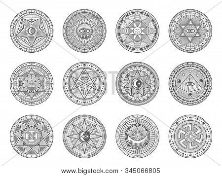 Occult, Alchemy And Astrology Icons, Occultism And Sacred Religion Mystic Symbols. Vector Magic Eye,